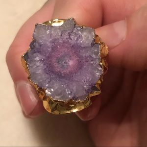 Adjustable Pink/Purple Stone Gold Ring